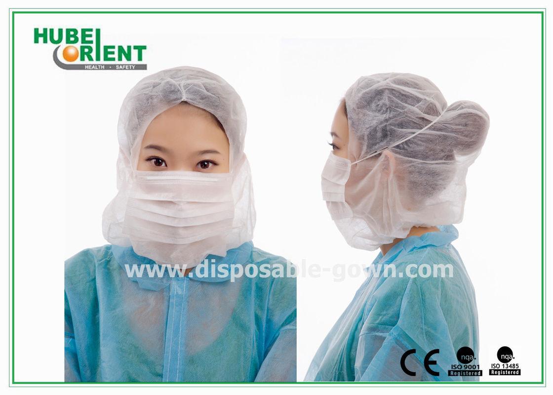 Włóknina Przemysłu Z Jednorazowe Maski Twarzowej Łbem 3ply Kaptur